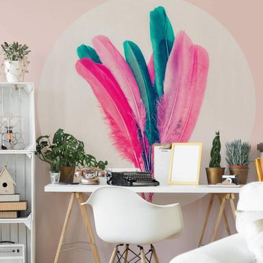 Fototapete Kubistika - Feder Bouquet - Rund