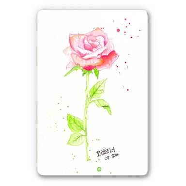 Glasbild Buttafly -  Rose