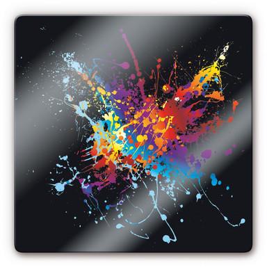 Glasbild Farbenexplosion quadratisch
