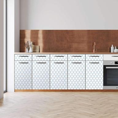 Küchenfolie - Unterschrank 200cm Breite - Retro Pattern - Blau