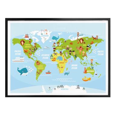 Poster Lustige Kinder Weltkarte