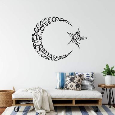 Wandtattoo Mondsichel und Stern 02