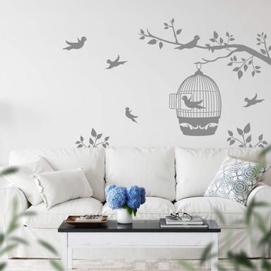 Wandtattoo Zweig mit Vogelkäfig