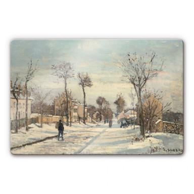 Glasbild Pissarro - Strasse von Louveciennes im Schnee
