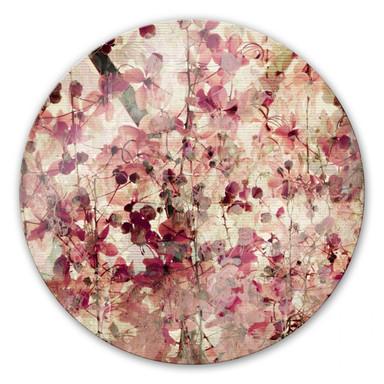 Glasbild Vintage Blütenmuster - rund
