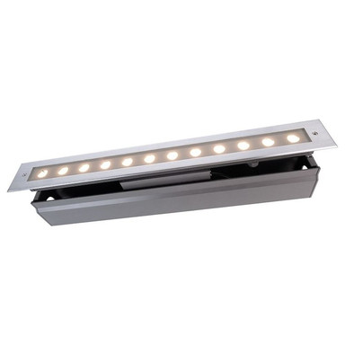 LED Bodeneinbaustrahler Line V WW in Silber und Transparent 16W 1100lm IP67