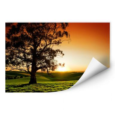 Wallprint Sonnenuntergang über den Hügeln