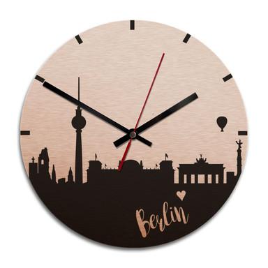 Wanduhr Alu-Dibond-Kupfereffekt - Skyline Berlin - Ø 28cm - Bild 1