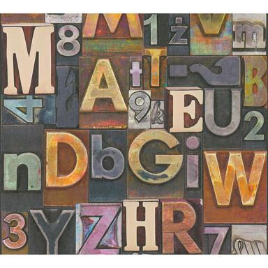 A.S. Création Vliestapete il Decoro Tapete Buchstaben Puzzle beige, rot, lila