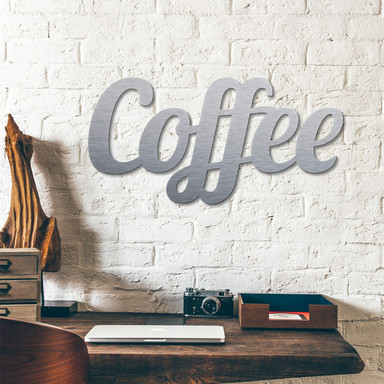 Alu-Dibond Buchstaben - Silbereffekt - Coffee