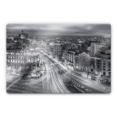 Glasbild Javier - Madrid bei Nacht
