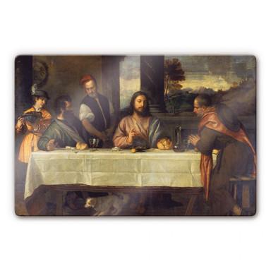 Glasbild Tizian - Das Mahl in Emmaus
