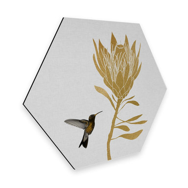 Hexagon - Alu-Dibond Orara Studio - Hummingbird and Flower - goldene Blume