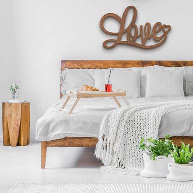 Holzbuchstaben Mahagoni - Love mit Herz