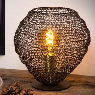 Tischlampe Saar aus Metall in Schwarz E27
