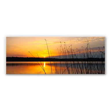 Wandbild Sonnenuntergang am See - Panorama