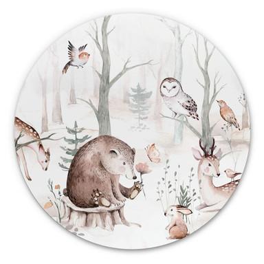 Alu-Dibond Kvilis - Tierfreunde im Wald - Rund