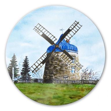 Glasbild Toetzke - Traditionelle Windmühle - rund