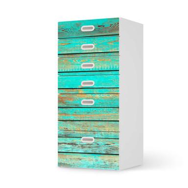 Klebefolie IKEA Stuva / Fritids Kommode - 6 Schubladen - Wooden Aqua- Bild 1