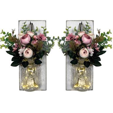 LED Wandleuchte Rosa Blumen im Glas mit Lichterkette - Bild 1