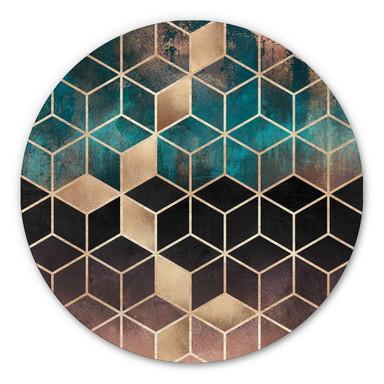 Alu-Dibond Fredriksson - Goldgrüne Geometrie - Rund