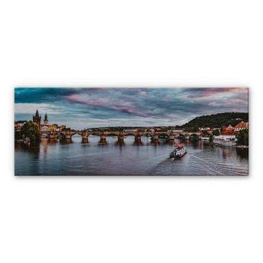Alu-Dibond Bild mit Silbereffekt Sonnenuntergang in Prag