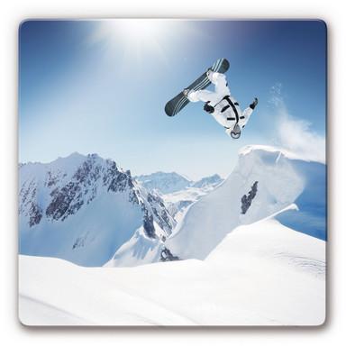 Glasbild Snowboarder quadratisch