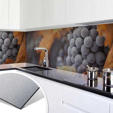 Küchenrückwand - Alu-Dibond-Silber - Wein im Herbst