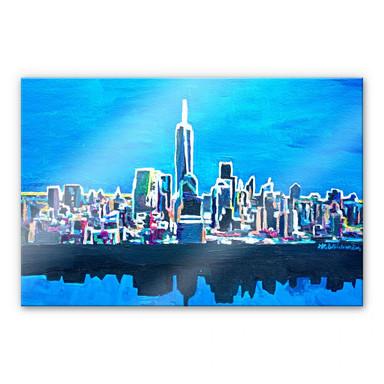 Acrylglasbild Bleichner - New York City im Neonschimmer