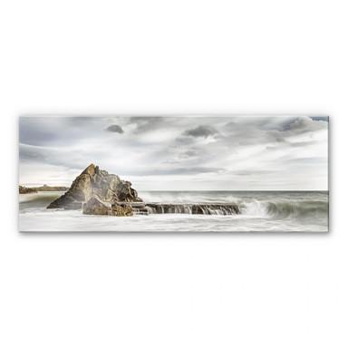 Acrylglasbild Fels in der Brandung - Panorama