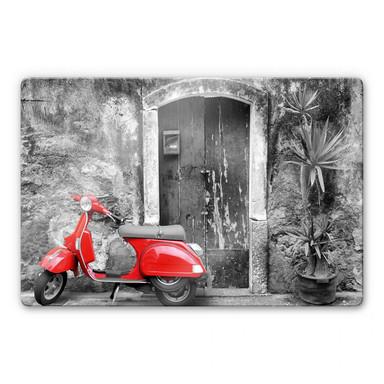Glasbild Red Scooter schwarz-weiss