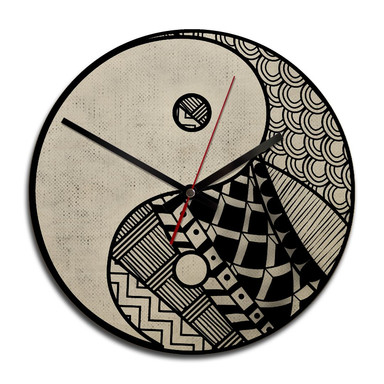 Holz-Wanduhr - Yin und Yang