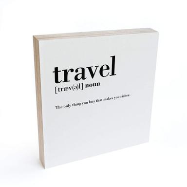Holzbild zum Hinstellen - Grammatik - Travel - 15x15cm