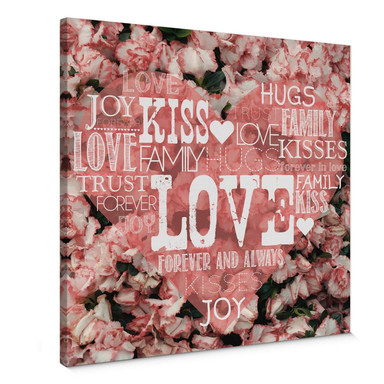 Leinwandbild Liebesherz im Blumenmeer - quadratisch