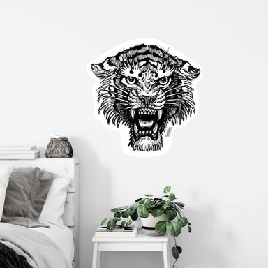 Wandsticker Miami Ink Tiger s/w