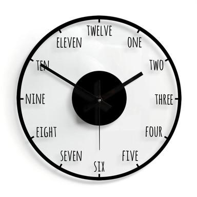 Wanduhr aus Glas - Zahlwörter Ø30cm - Bild 1