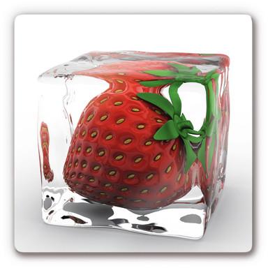 Glasbild Erdbeereiswürfel