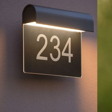 Hausnummernleuchte Thesi in schwarz, IP54. inkl. LED