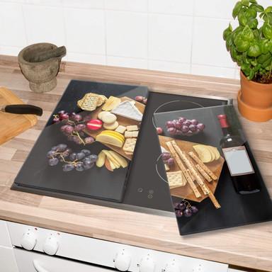 Herdabdeckplatte - Käse und Wein