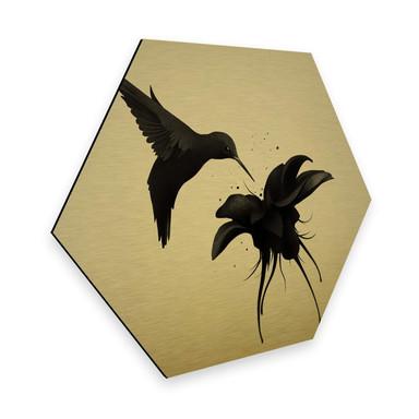 Hexagon - Alu-Dibond-Goldeffekt Ireland - Chorum - Kolibri