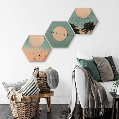 Hexagon-Set - Holz Birke-Furnier Kubistika - Monde (3er Set)