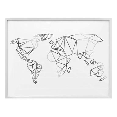 Poster Origami Weltkarte - Silber-Optik