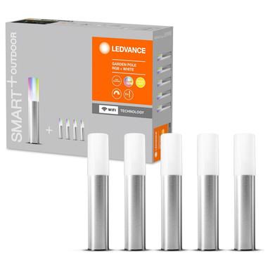SMART& LED Erdspiessleuchten in Silber und Weiss 5x 1.14W 180lm IP65 RGBW
