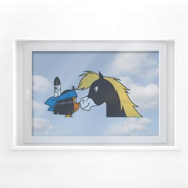 Fensterbild Yakari und Kleiner Donner im Profil