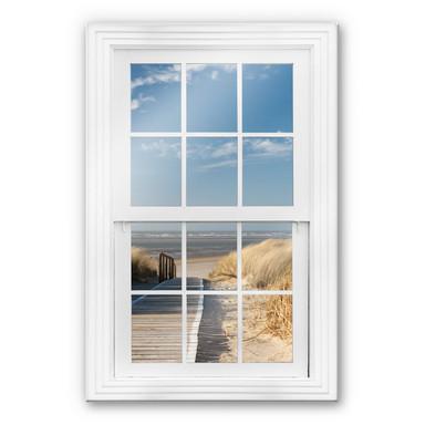 Glasbild 3D Fenster - An der Ostsee