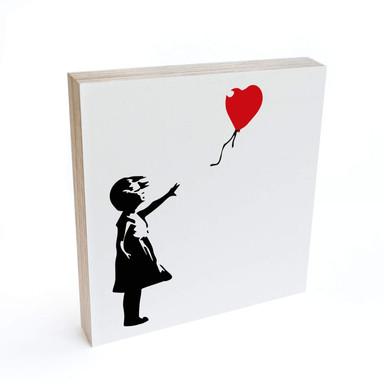 Holzbild zum Hinstellen - Banksy - Girl with the red balloon - 15x15cm