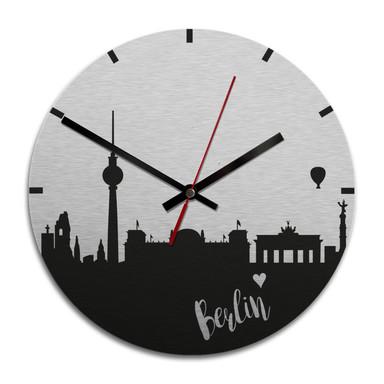 Wanduhr Alu-Dibond-Silbereffekt - Skyline Berlin - Ø 28cm - Bild 1
