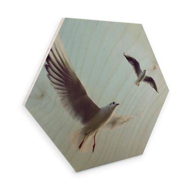 Hexagon - Holz Birke-Furnier - Möwen 02