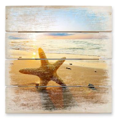 Holzbild Seestern im Sand