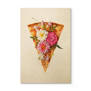 Holzposter Fuentes - Pizza und Blumen